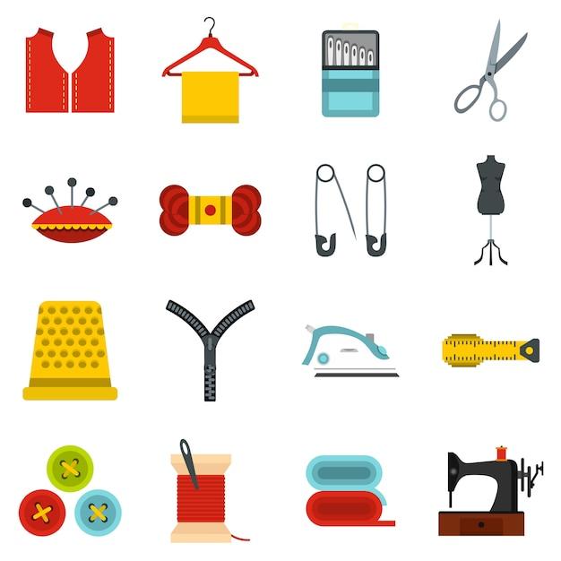 Sewing set flat icons Premium Vector