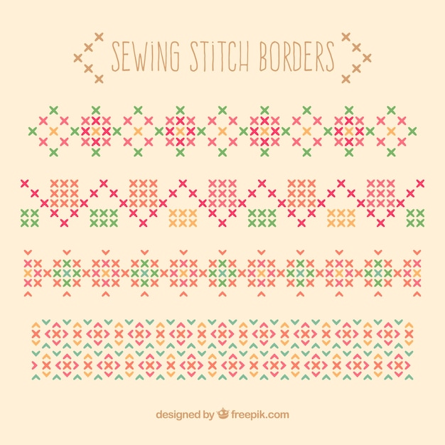 Sewing stitch borders Vector | Free Download