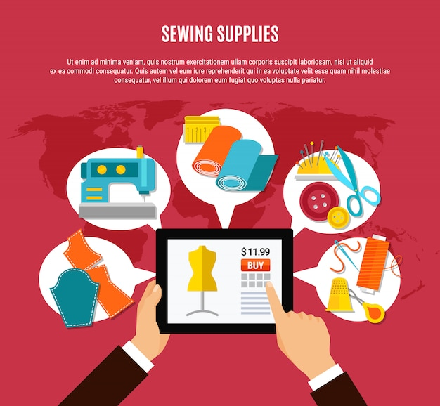 Sewing supplies concept Free Vector