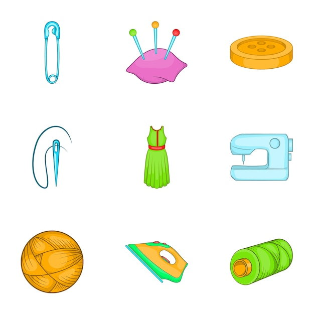 Sewing supplies icons set, cartoon style Premium Vector
