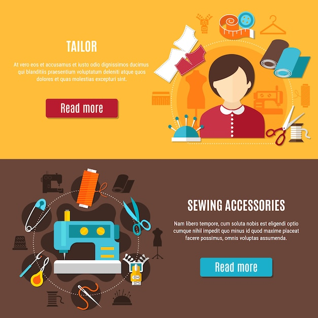 Sewing and tailor banners set Free Vector