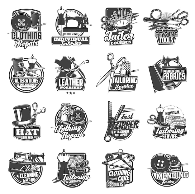 Sewing and tailor icons, atelier and dressmaker shop  labels. tailor seamstress and clothing repair service , sewing machine, needles and pins, tailoring workshop buttons and thread stitch Premium Vector