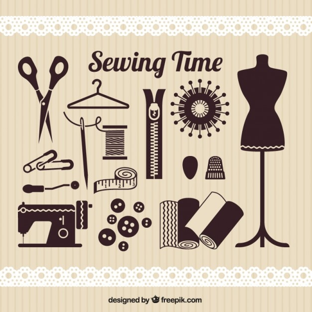 Sewing time elements Free Vector