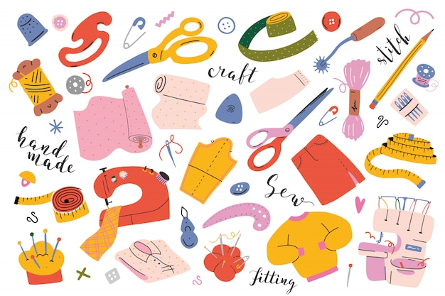 Sewing tools and equipment Premium Vector