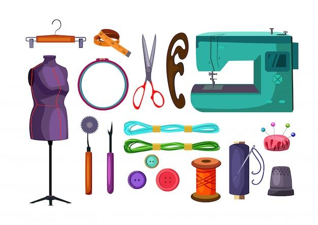 Sewing tools set Free Vector