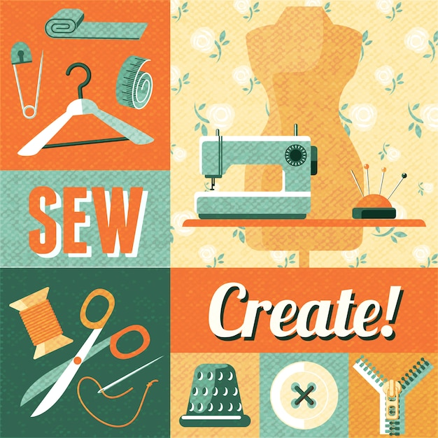 Sewing vintage decoration collage background Free Vector