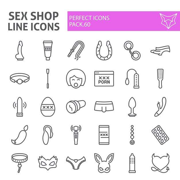 Sex shop line icon set, sex toys collection Premium Vector