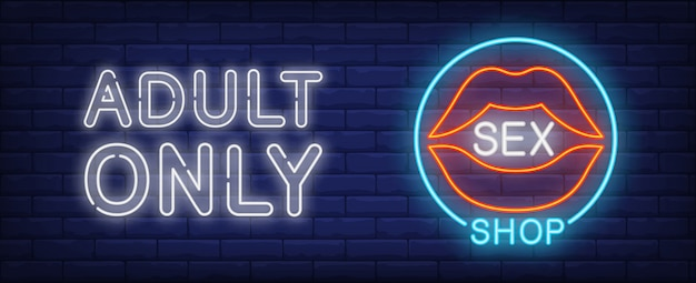 Sex shop neon sign. Open sensual female lips in blue circle.  Free Vector