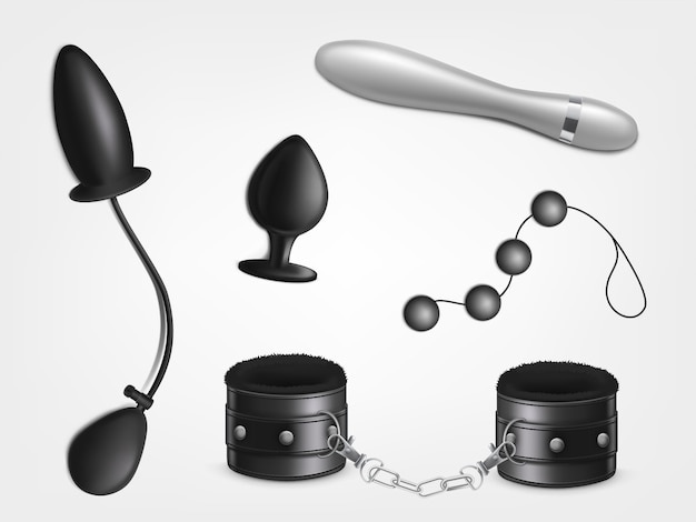 Sex toy for womans pleasure, adults erotic role play, bdsm sexual games Free Vector