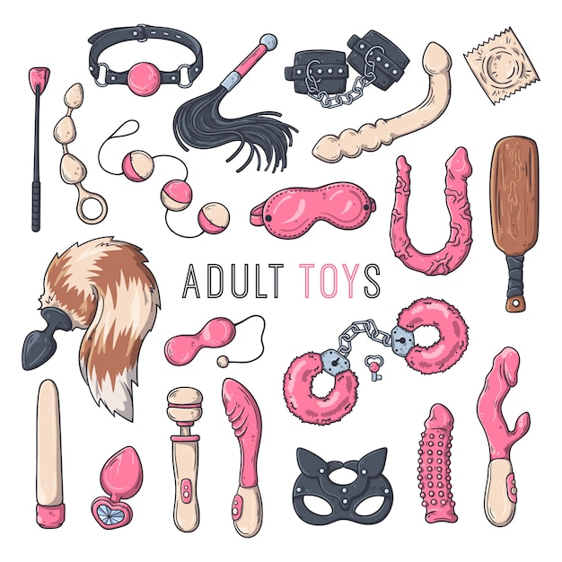 Sex toys for adults. accessories for erotic games. vector illustration. Premium Vector