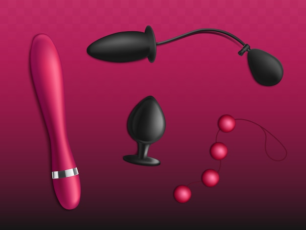 Sex toys for womens pleasure  set isolated on gradient red background. Free Vector