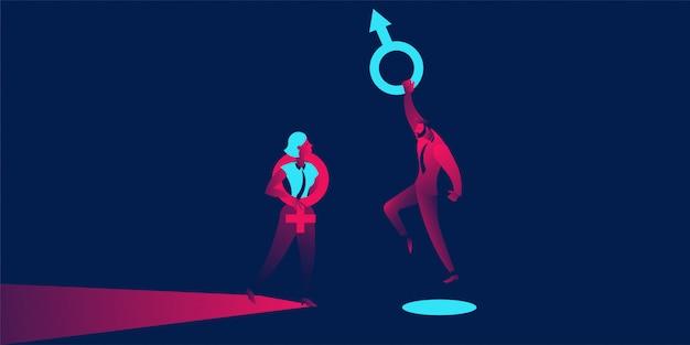 Sexism, discrimination, business gap Premium Vector