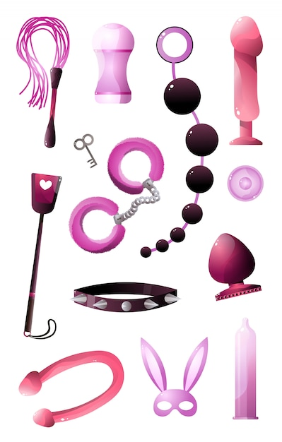 Sextoys set for bdsm and incising pleasure  on white background Premium Vector
