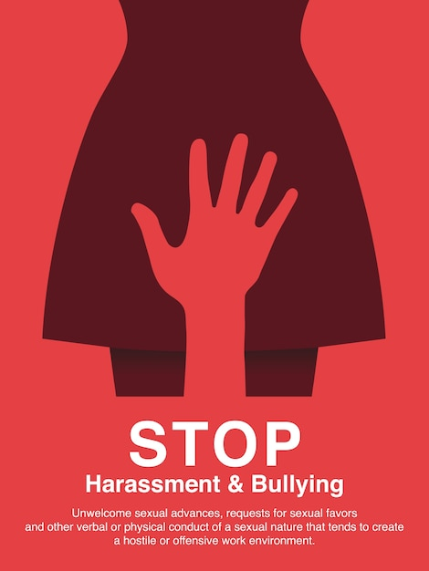 Sexual harassment and workplace bullying concept poster. Premium Vector