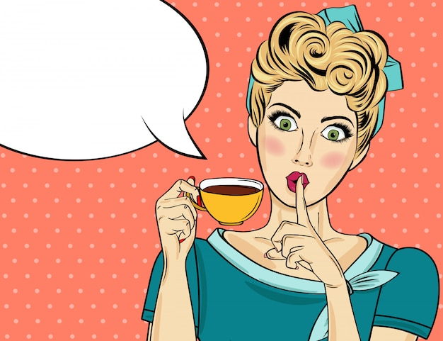 Sexy blonde pop art woman with coffee cup. advertising poster in comic style. vector Premium Vector
