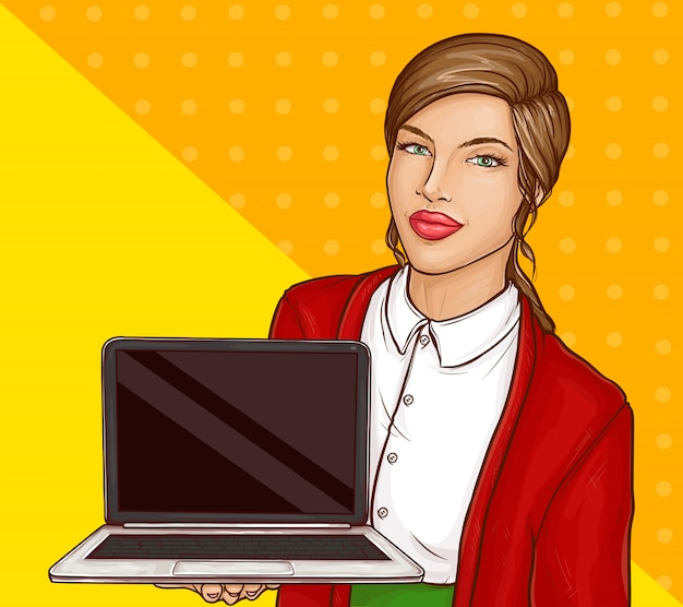 Sexy businesswoman holding laptop computer with blank screen Free Vector