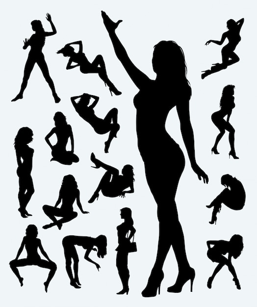Sexy girl in action silhouette Premium Vector