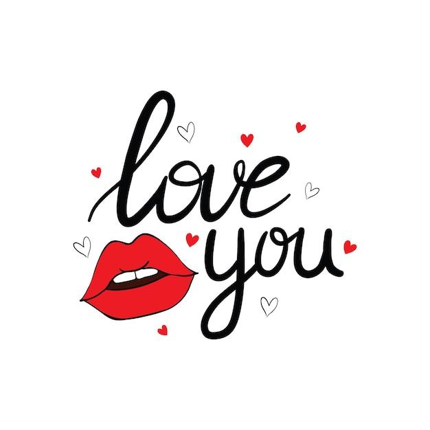 Сексуальные поцелуи губ изолированные значок с надписью на день святого валентина. иллюстрация. Premium векторы