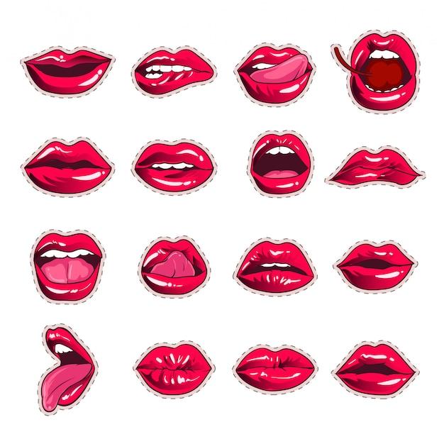 Sexy mouth lips sticker collection design Premium Vector