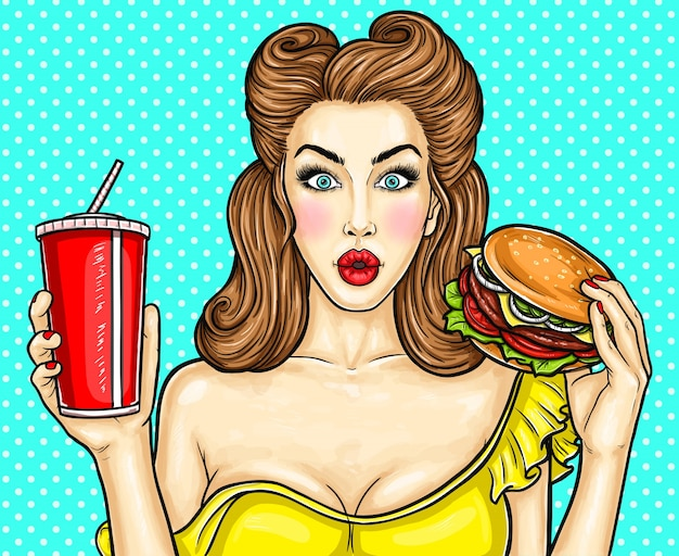 Sexy pop art girl holding a cocktail in her hand Free Vector