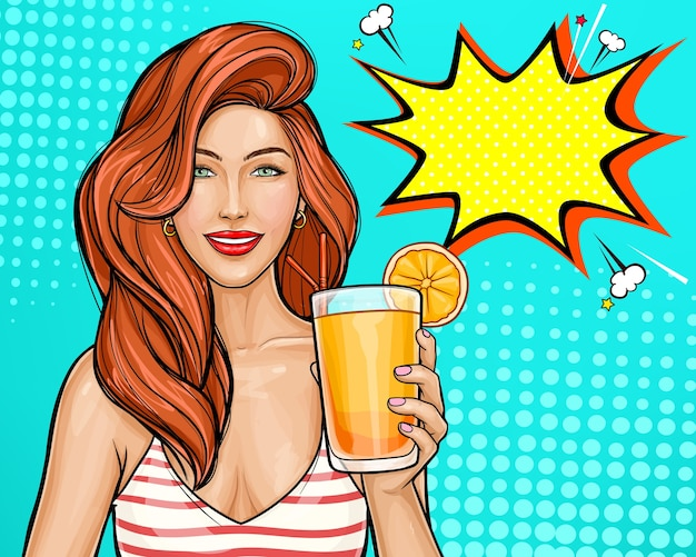 Sexy pop art girl with red hair holding a cocktail in her hand. Free Vector