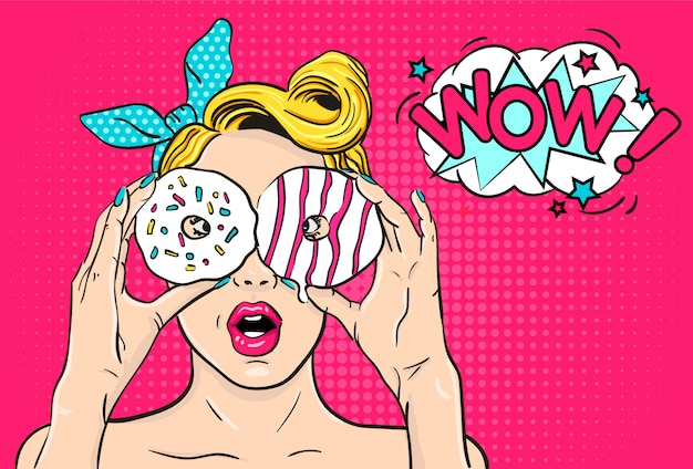 Sexy pop art surprised woman with donuts in hands Premium Vector