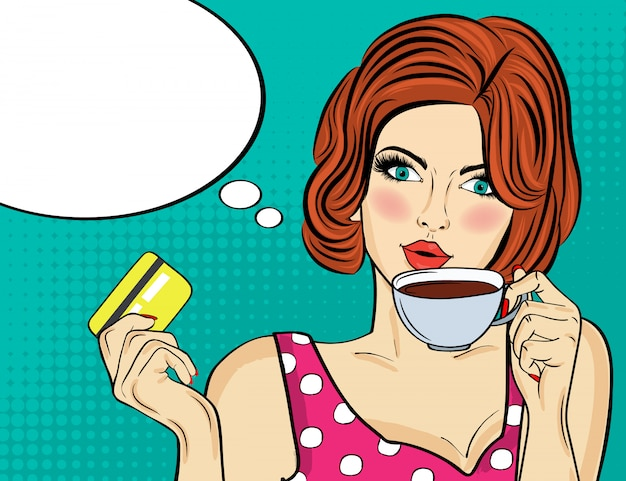 Sexy pop art woman with coffee cup. advertising poster in comic style. vector Premium Vector