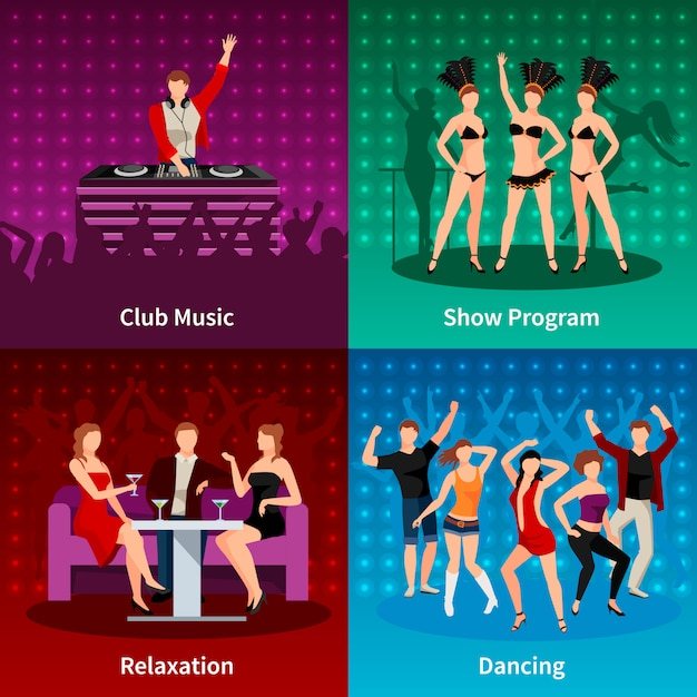 Sexy salsa dancing at night club 4 flat icons square strip show program poster Free Vector