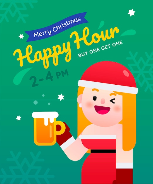 Sexy santa woman celebrating for christmas happy hour buy one get one beer Premium Vector