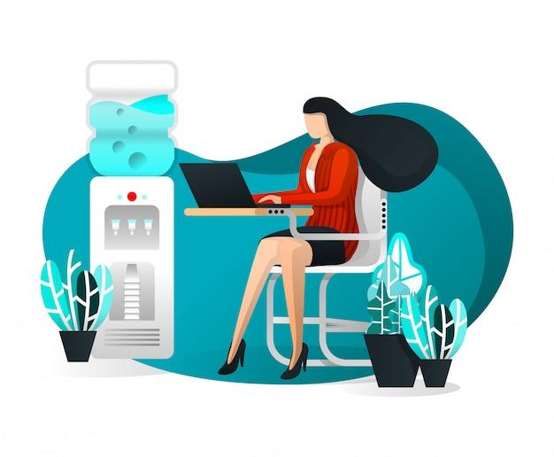Sexy secretary works on desk with flat cartoon illustration Premium Vector