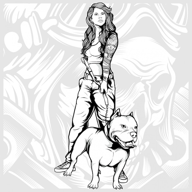 Sexy women with pit bull hand drawing Premium Vector