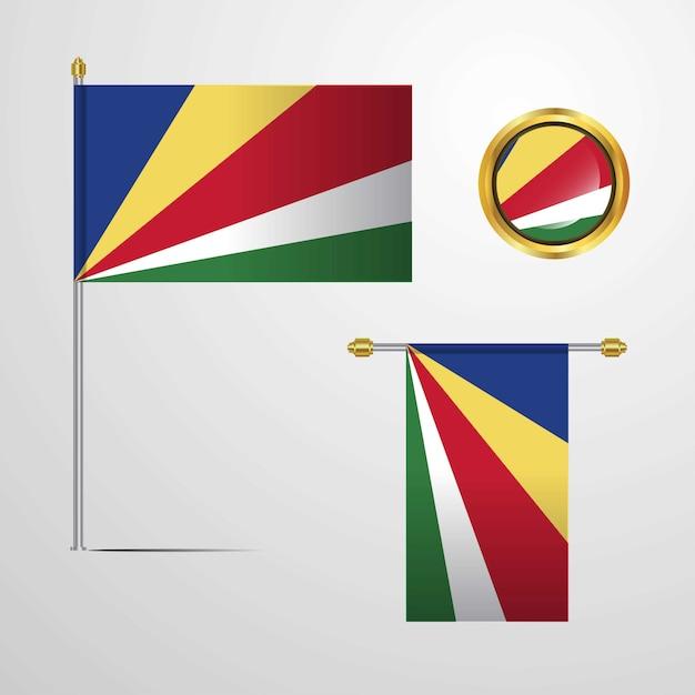 Seychelles waving flag design with badge vector Premium Vector