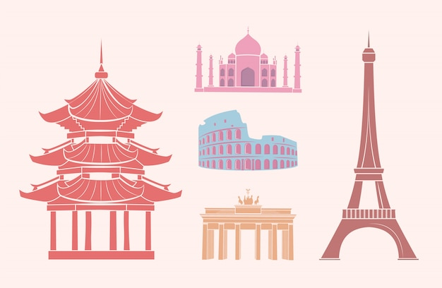 Sfamous sights and attractions on travel stickers Premium Vector
