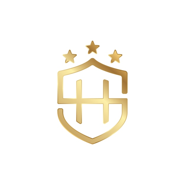 Sh shield logo gold 3d | Premium Vector