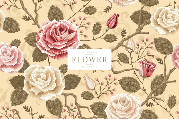 Shabby chic floral pattern template Premium Vector