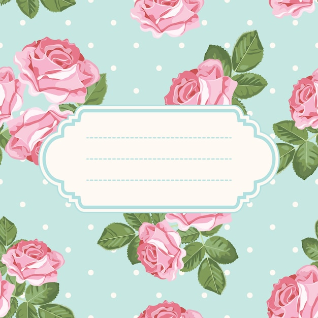 Shabby chic rose and polka dot light green background with blank, empty frame. Premium Vector