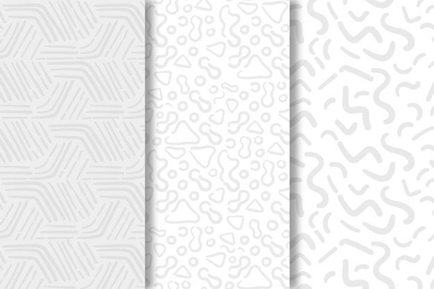 Shades of white lines seamless pattern template Premium Vector