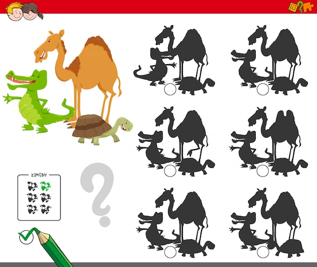 Shadow educational activity for kids with animals Premium Vector