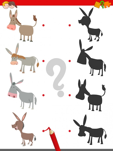 Shadow game with cute donkey characters Premium Vector