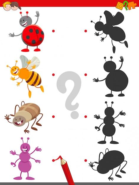 Игра теней с милыми персонажами насекомых Premium векторы