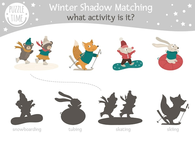 Shadow matching activity for children with animals going for winter sports. Premium Vector