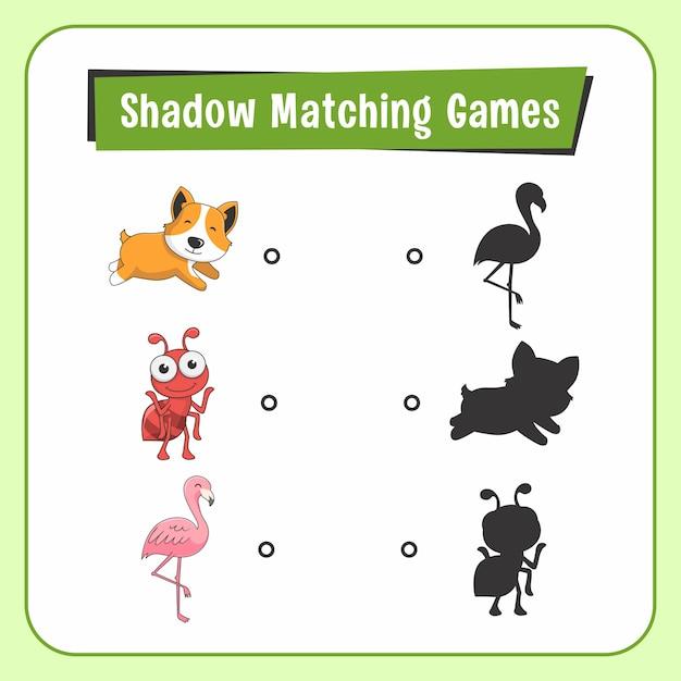 Shadow matching games животные собака муравей фламинго птица Premium векторы