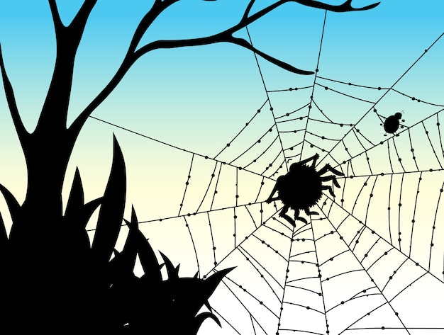 Shadow of spider web nature background Free Vector