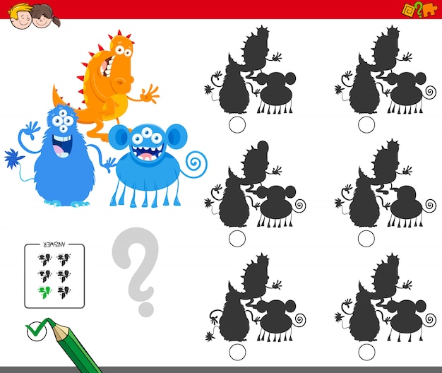 Shadow without differences game for children Premium Vector