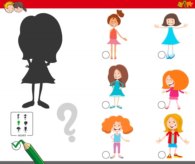 Shadows game with cartoon girls characters Premium Vector