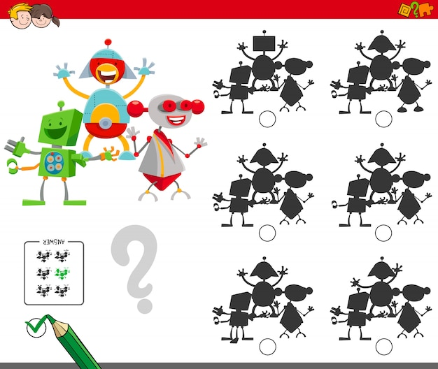 Shadows game with robots characters Premium Vector