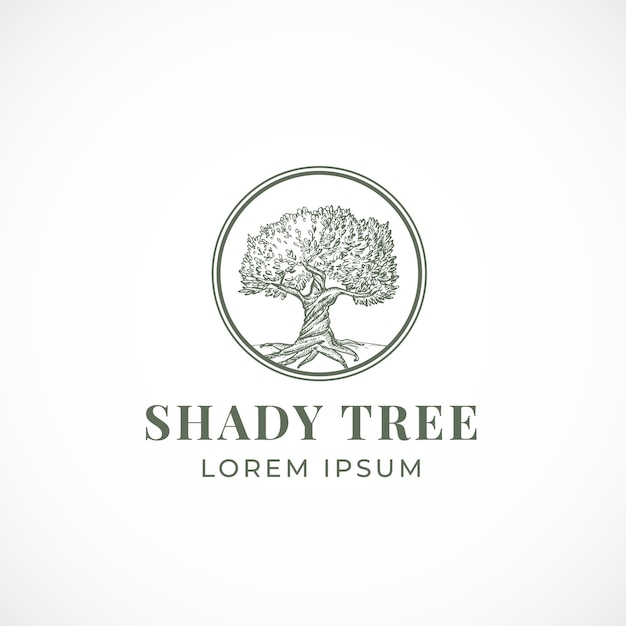 Shady tree abstract  sign, symbol or logo template. Free Vector