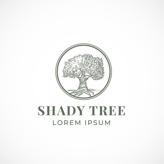 Тенистое дерево абстрактный знак, символ или шаблон логотипа. Бесплатные векторы