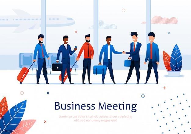 Деловая встреча в терминале аэропорта и мультфильм бизнесмен в костюме shake h и Premium векторы