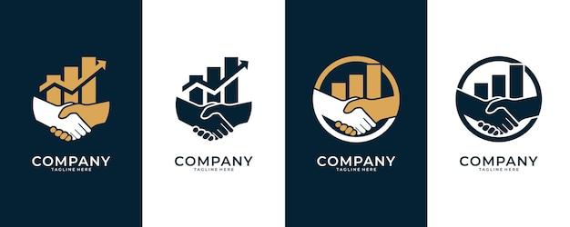 握手とレベルのロゴデザイン、金融およびビジネスコンサルティングのロゴに適しています Premiumベクター